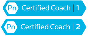 PN certified coach 1 and 2 logo, light blue color